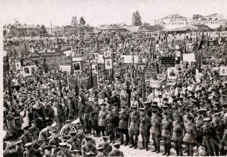 Mitingas P. Vileišio aikštėje Kaune sudarius prosovietinę Liaudies vyriausybę. 1940 06 15