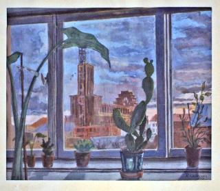 Vakaras. 1937 m. Vaizdas į Kristaus Prisikėlimo bažnyčią pro artisto Lauciaus namo langą (asmeninė G. Krinicko kolekcija).