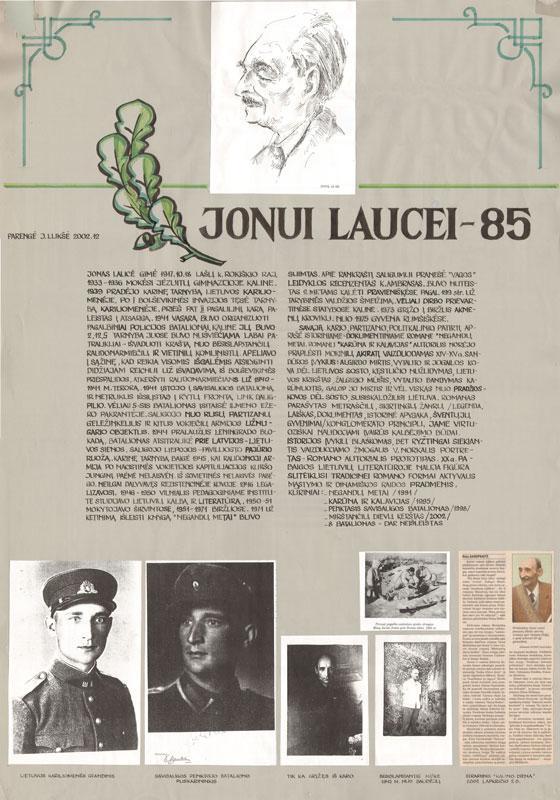 Teminis plakatas prozininkui Jonui Laucei