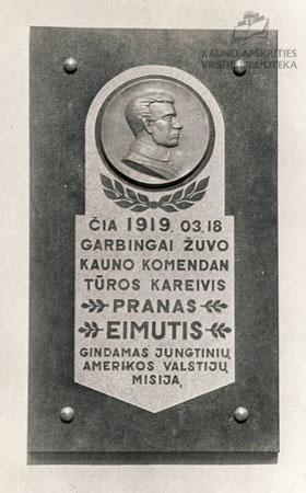 Atminimo lenta savanoriui Pranui Eimučiui. XX a. 4 deš.