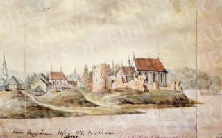 Kauno senamiestis, nuo Neries upės. Pilies griuvėsiai, Nemuno ir Neries santaka