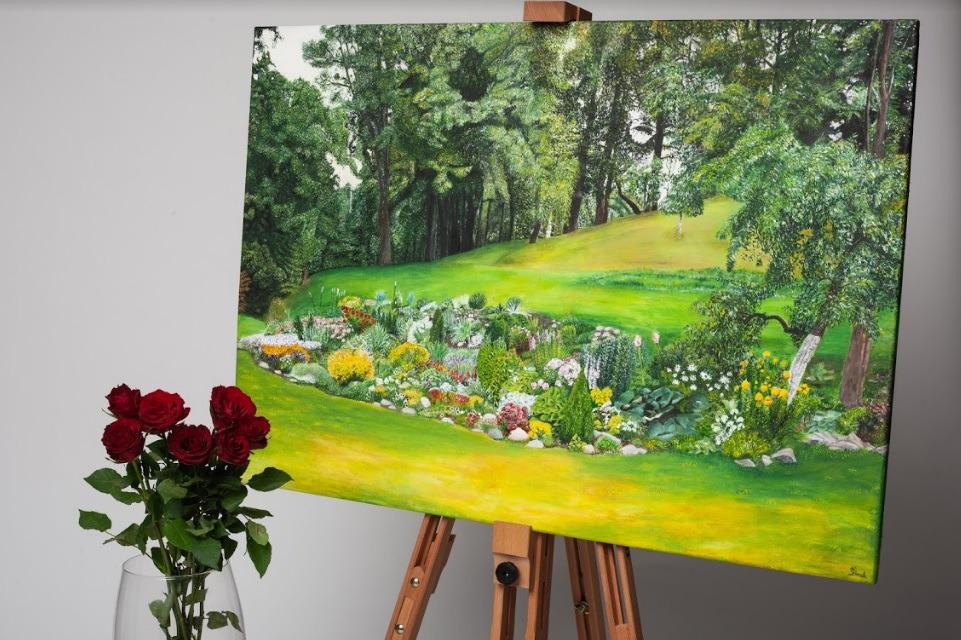 """Ievos Dauskurdaitės paveikslas """"Močiutės sodai"""""""